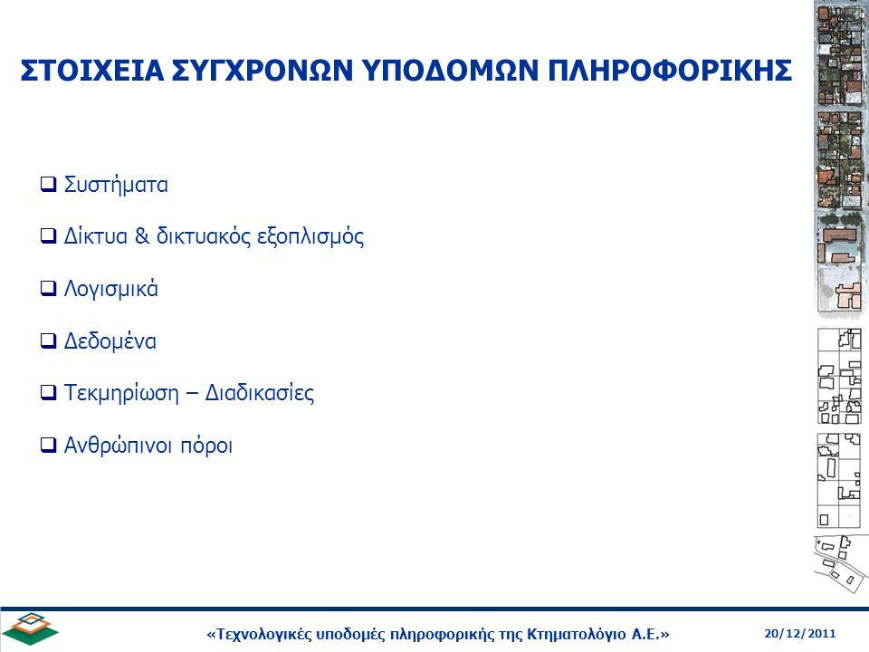 8 20/12/2011 «Τεχνολογικές υποδομές πληροφορικής της Κτηματολόγιο Α.Ε.»  Το κέντρο δεδομένων της Κτηματολόγιο ΑΕ διαθέτει λειτουργικές προδιαγραφές με διαθεσιμότητα 99.99% (άρα αναλογικά μέγιστο χρόνο δυσλειτουργίας 1 ώρα / έτος)  Πρόκειται για ένα εκ των τριών πιο ισχυρών κέντρων δεδομένων της δημόσιας διοίκησης  Η συστοιχία Βάσεων Δεδομένων είναι η πιο σύνθετη τεχνικώς στην Νοτιοανατολική Ευρώπη και Μεσόγειο  Το σύστημα αποθήκευσης δεδομένων μπορεί να φιλοξενήσει όλα τα συμβόλαια και όλα τα χωρικά δεδομένα της χώρας σε ένα χώρο 20 κυβικών μέτρων ή 10 τ.μ.