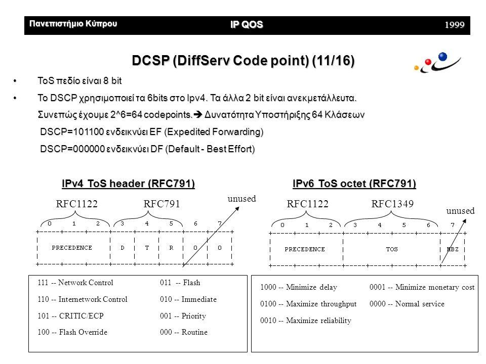 Πανεπιστήμιο Κύπρου IP QOS 1999 DCSP (DiffServ Code point) (11/16) •ToS πεδίο είναι 8 bit •To DSCP χρησιμοποιεί τα 6bits στο Ιpv4.