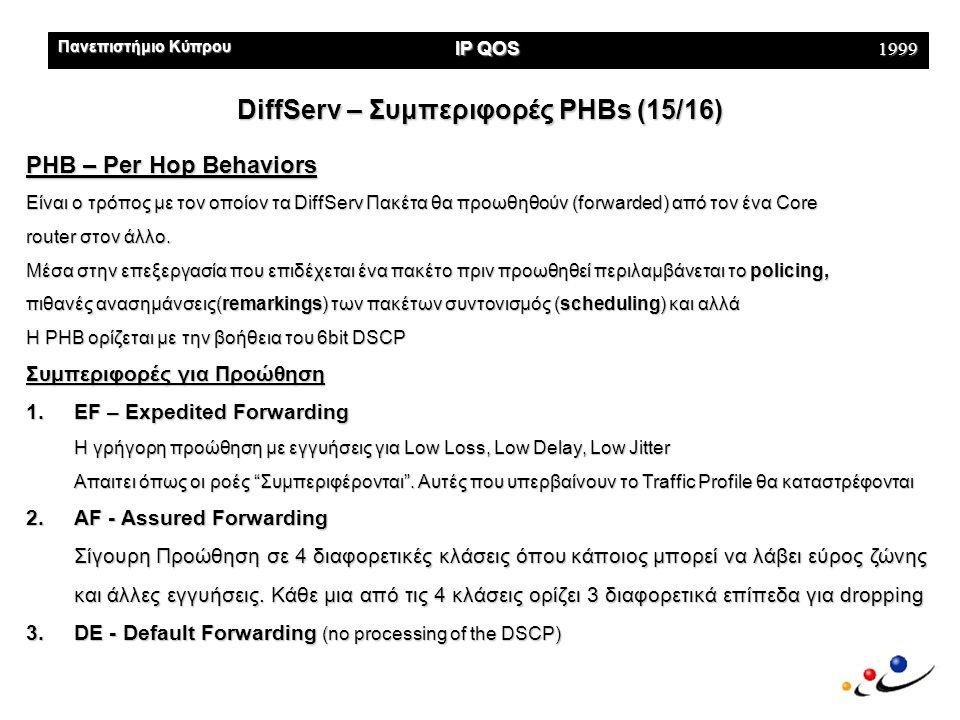 Πανεπιστήμιο Κύπρου IP QOS 1999 DiffServ – Συμπεριφορές PHBs (15/16) PHB – Per Hop Behaviors Είναι ο τρόπος με τον οποίον τα DiffServ Πακέτα θα προωθηθούν (forwarded) από τον ένα Core router στον άλλο.