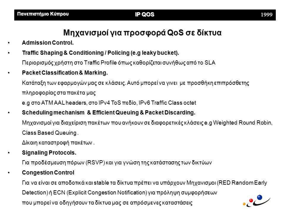 Πανεπιστήμιο Κύπρου IP QOS 1999 Μηχανισμοι Προσφοράς QoS στα ATM Reservation-based Traffic Engineering όμως είναι Complex Το ΑΤΜ παρέχει ένα πλούσιο σύνολο τέτοιων μηχανισμών που μπορούμε να χρησιμοποιήσουμε και σε αλλά δίκτυα προσφοράς QoS Τρόποι •Virtual Channels Εκτός από το routing κάνουν και την προδέσμευση των Πόρων •Service Categories & QoS Descriptors Κλάσεις υπηρεσιών που υλοποιούνται μέσω των 5 ΑΤΜ Adaptation Layers, για υπηρεσίες με CBR, VBR, ABR, UBR •Intelligent Queuing Mechanisms