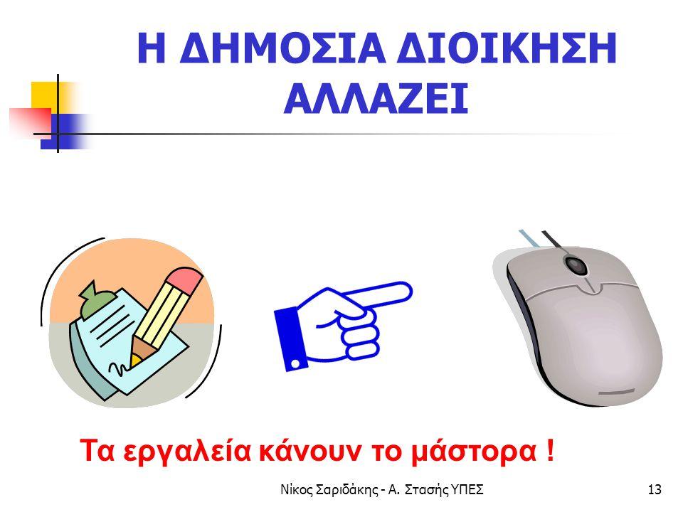 Νίκος Σαριδάκης - Α. Στασής ΥΠΕΣ13 Η ΔΗΜΟΣΙΑ ΔΙΟΙΚΗΣΗ ΑΛΛΑΖΕΙ Τα εργαλεία κάνουν το μάστορα !