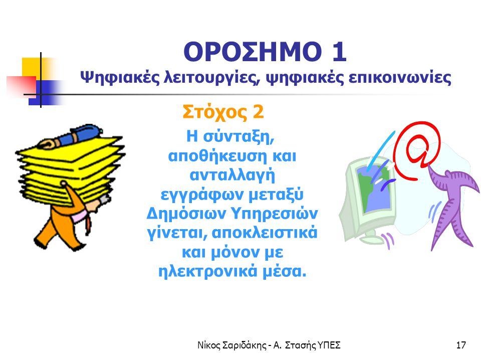 Νίκος Σαριδάκης - Α. Στασής ΥΠΕΣ17 ΟΡΟΣΗΜΟ 1 Ψηφιακές λειτουργίες, ψηφιακές επικοινωνίες Στόχος 2 Η σύνταξη, αποθήκευση και ανταλλαγή εγγράφων μεταξύ