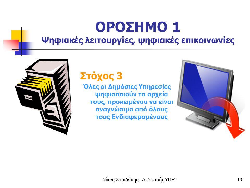 Νίκος Σαριδάκης - Α. Στασής ΥΠΕΣ19 ΟΡΟΣΗΜΟ 1 Ψηφιακές λειτουργίες, ψηφιακές επικοινωνίες Στόχος 3 Όλες οι Δημόσιες Υπηρεσίες ψηφιοποιούν τα αρχεία του