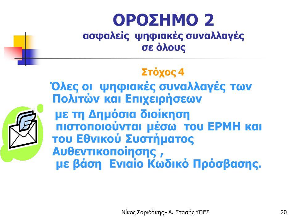 Νίκος Σαριδάκης - Α. Στασής ΥΠΕΣ20 ΟΡΟΣΗΜΟ 2 ασφαλείς ψηφιακές συναλλαγές σε όλους Στόχος 4 Όλες οι ψηφιακές συναλλαγές των Πολιτών και Επιχειρήσεων μ