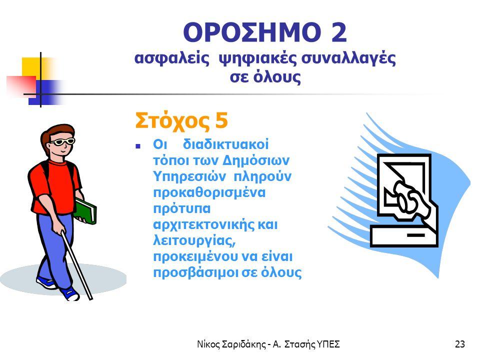 Νίκος Σαριδάκης - Α. Στασής ΥΠΕΣ23 ΟΡΟΣΗΜΟ 2 ασφαλείς ψηφιακές συναλλαγές σε όλους Στόχος 5  Οι διαδικτυακοί τόποι των Δημόσιων Υπηρεσιών πληρούν προ