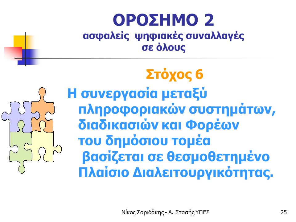 Νίκος Σαριδάκης - Α. Στασής ΥΠΕΣ25 ΟΡΟΣΗΜΟ 2 ασφαλείς ψηφιακές συναλλαγές σε όλους Στόχος 6 Η συνεργασία μεταξύ πληροφοριακών συστημάτων, διαδικασιών