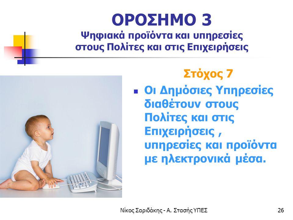 Νίκος Σαριδάκης - Α. Στασής ΥΠΕΣ26 ΟΡΟΣΗΜΟ 3 Ψηφιακά προϊόντα και υπηρεσίες στους Πολίτες και στις Επιχειρήσεις Στόχος 7  Οι Δημόσιες Υπηρεσίες διαθέ