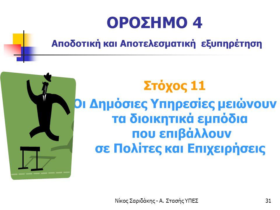 Νίκος Σαριδάκης - Α. Στασής ΥΠΕΣ31 ΟΡΟΣΗΜΟ 4 Αποδοτική και Αποτελεσματική εξυπηρέτηση Στόχος 11 Οι Δημόσιες Υπηρεσίες μειώνουν τα διοικητικά εμπόδια π