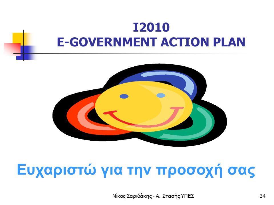 Νίκος Σαριδάκης - Α. Στασής ΥΠΕΣ34 I2010 E-GOVERNMENT ACTION PLAN Ευχαριστώ για την προσοχή σας