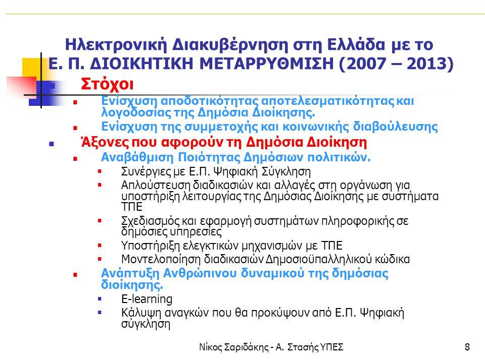 Νίκος Σαριδάκης - Α. Στασής ΥΠΕΣ8 Ηλεκτρονική Διακυβέρνηση στη Ελλάδα με το Ε. Π. ΔΙΟΙΚΗΤΙΚΗ ΜΕΤΑΡΡΥΘΜΙΣΗ (2007 – 2013)  Στόχοι  Ενίσχυση αποδοτικότ