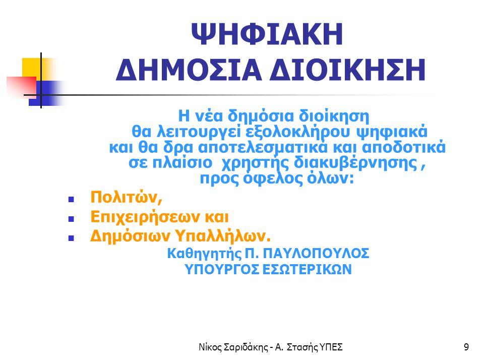 Νίκος Σαριδάκης - Α. Στασής ΥΠΕΣ9 ΨΗΦΙΑΚΗ ΔΗΜΟΣΙΑ ΔΙΟΙΚΗΣΗ Η νέα δημόσια διοίκηση θα λειτουργεί εξολοκλήρου ψηφιακά και θα δρα αποτελεσματικά και αποδ