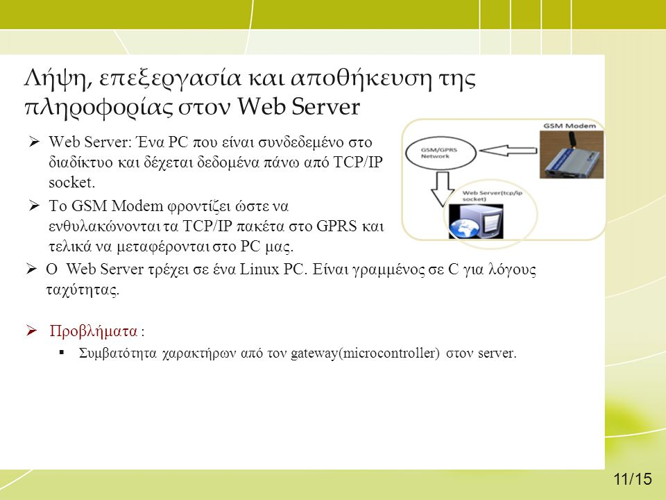 Λήψη, επεξεργασία και αποθήκευση της πληροφορίας στον Web Server  Web Server: Ένα PC που είναι συνδεδεμένο στο διαδίκτυο και δέχεται δεδομένα πάνω απ