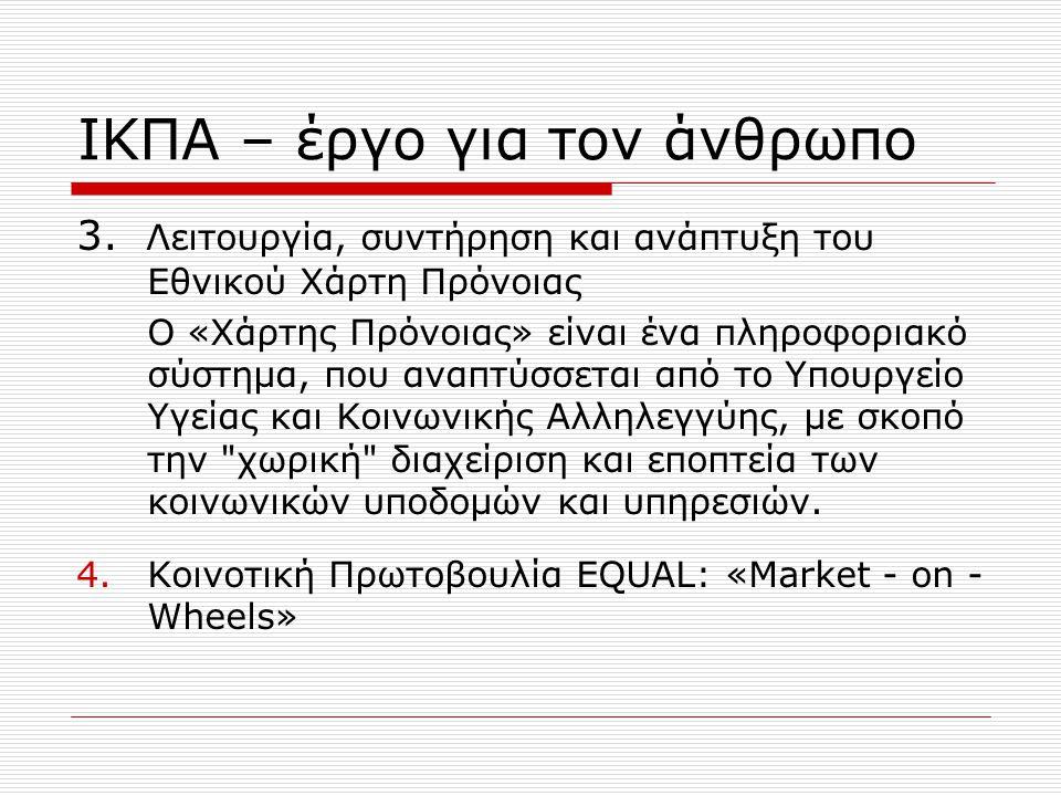 ΙΚΠΑ – έργο για τον άνθρωπο 4.Ε-gov: Υπηρεσίες Ηλεκτρονικής Διακυβέρνησης για Αναπήρους  Υπηρεσίες ηλεκτρονικού ΚΕΠ για ΑμεΑ  Υπηρεσίες για την ανεξάρτητη διαβίωση (make it simple)  Υπηρεσίες και προϊόντα υποστηρικτικής τεχνολογίας.