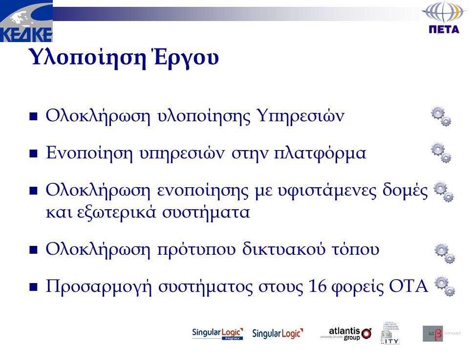 Υλοποίηση Έργου  Ολοκλήρωση υλοποίησης Υπηρεσιών  Ενοποίηση υπηρεσιών στην πλατφόρμα  Ολοκλήρωση ενοποίησης με υφιστάμενες δομές και εξωτερικά συστ