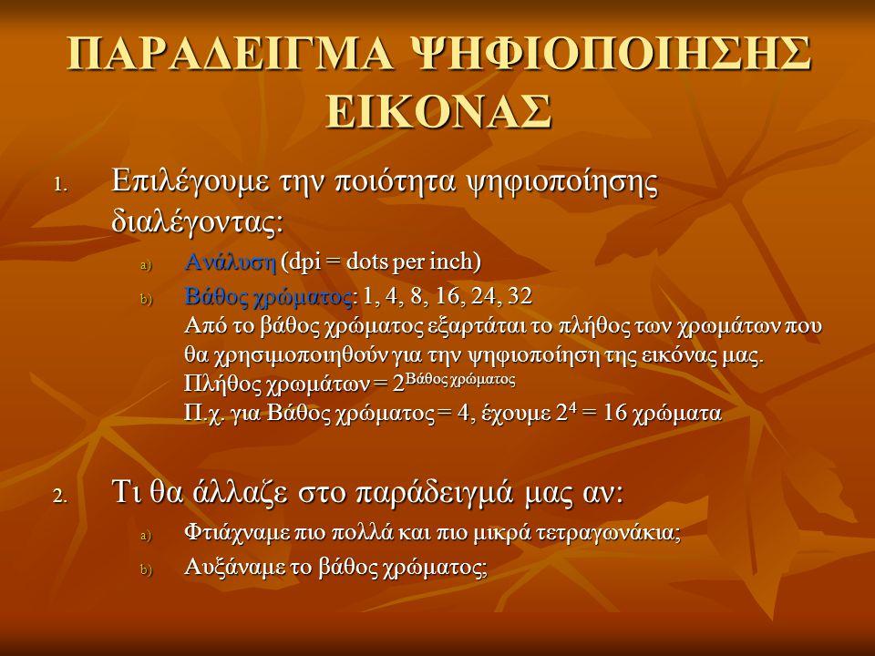 ΠΑΡΑΔΕΙΓΜΑ ΨΗΦΙΟΠΟΙΗΣΗΣ ΕΙΚΟΝΑΣ 1.
