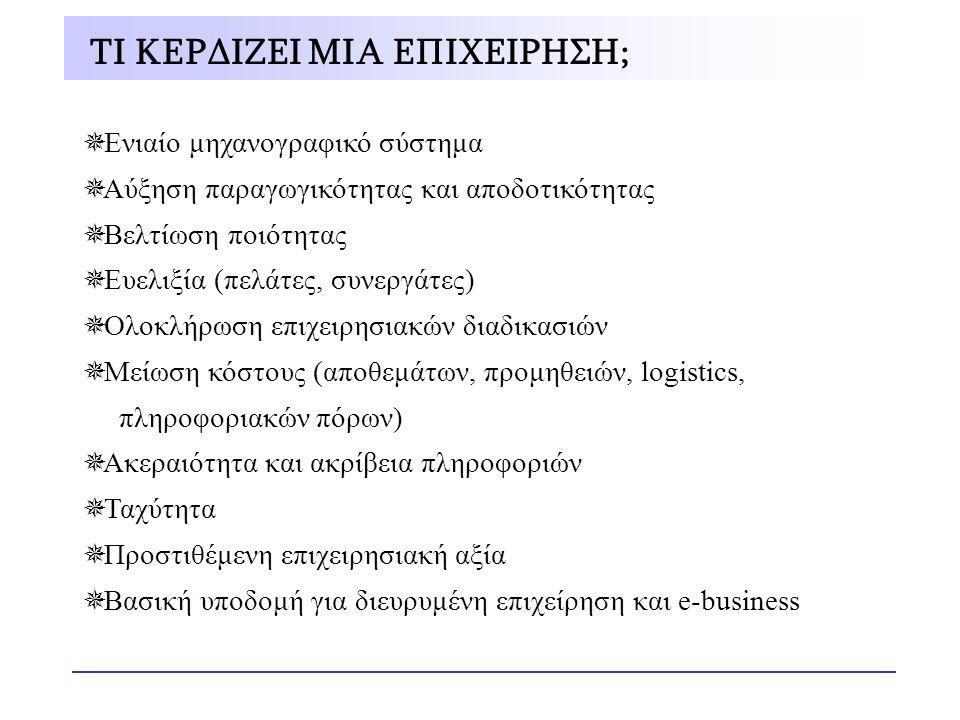  Ενιαίο μηχανογραφικό σύστημα  Αύξηση παραγωγικότητας και αποδοτικότητας  Βελτίωση ποιότητας  Ευελιξία (πελάτες, συνεργάτες)  Ολοκλήρωση επιχειρη
