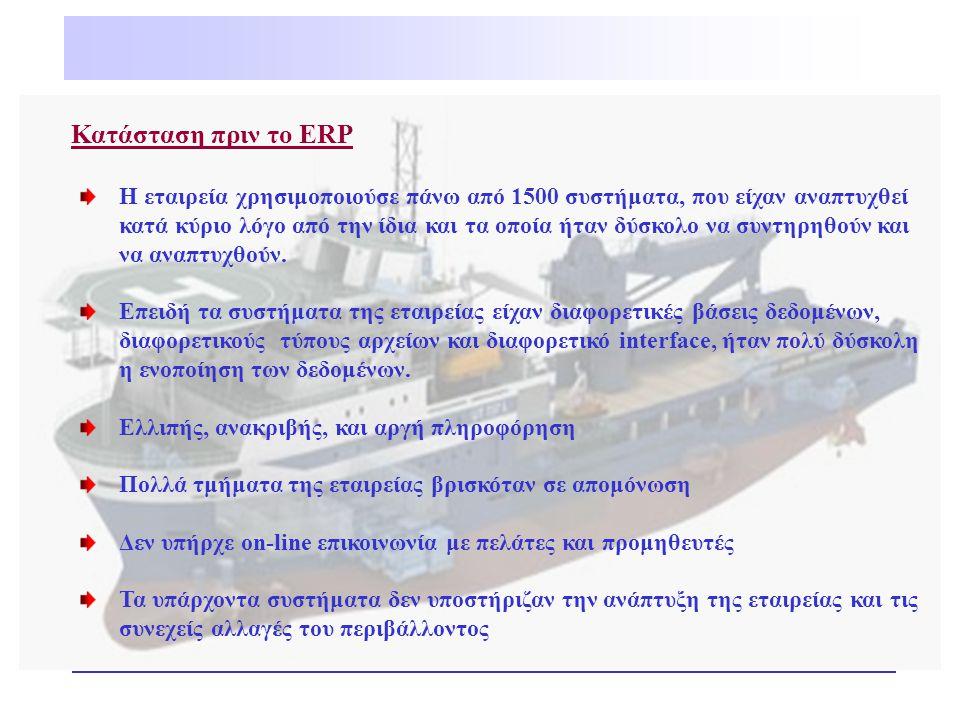 Κατάσταση πριν το ERP Η εταιρεία χρησιμοποιούσε πάνω από 1500 συστήματα, που είχαν αναπτυχθεί κατά κύριο λόγο από την ίδια και τα οποία ήταν δύσκολο ν