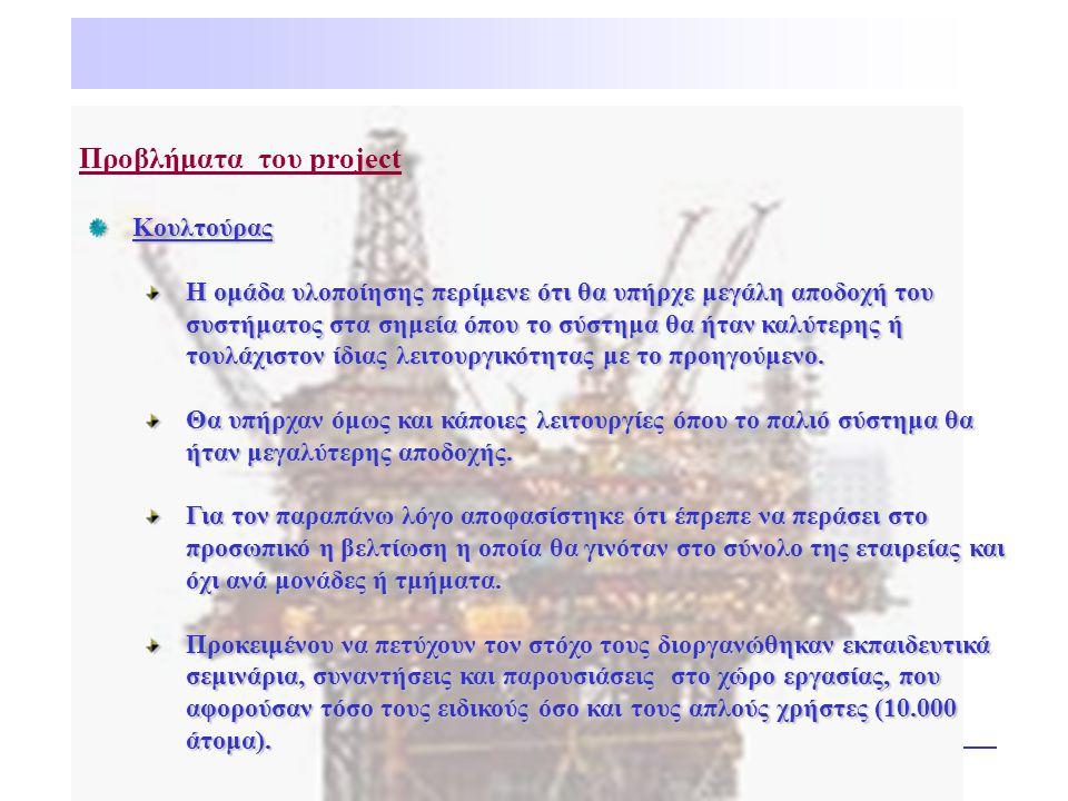 Προβλήματα του projectΚουλτούρας Η ομάδα υλοποίησης περίμενε ότι θα υπήρχε μεγάλη αποδοχή του συστήματος στα σημεία όπου το σύστημα θα ήταν καλύτερης