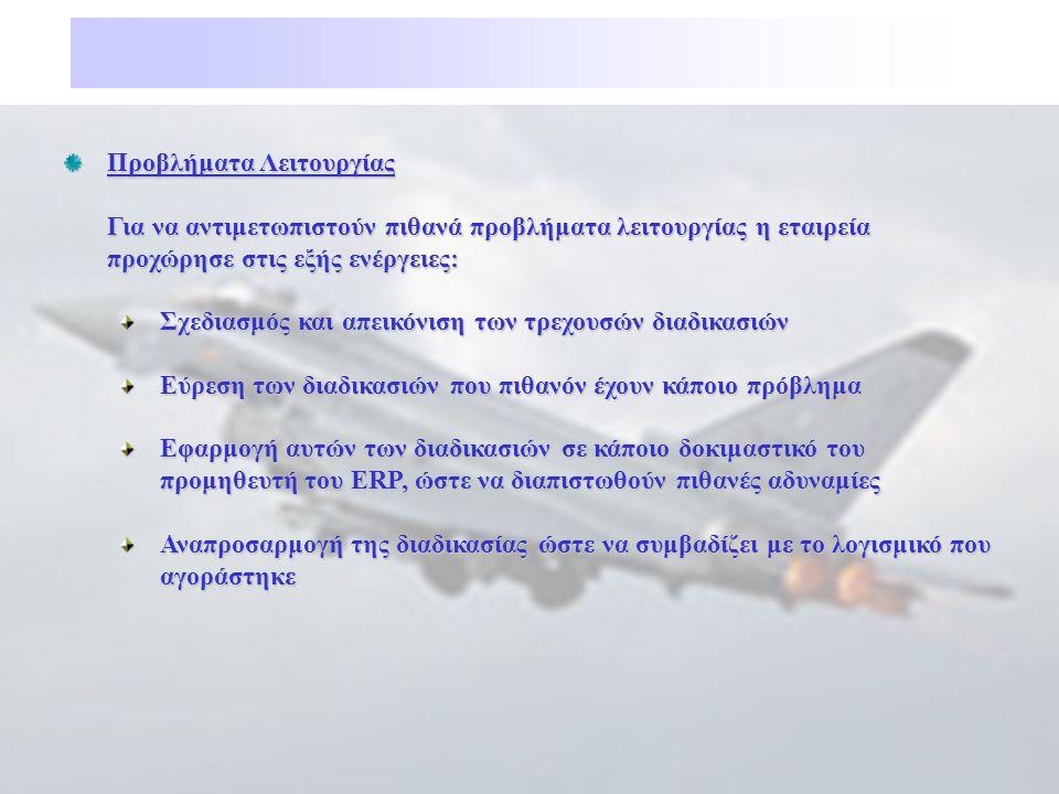 Προβλήματα Λειτουργίας Για να αντιμετωπιστούν πιθανά προβλήματα λειτουργίας η εταιρεία προχώρησε στις εξής ενέργειες: Σχεδιασμός και απεικόνιση των τρ
