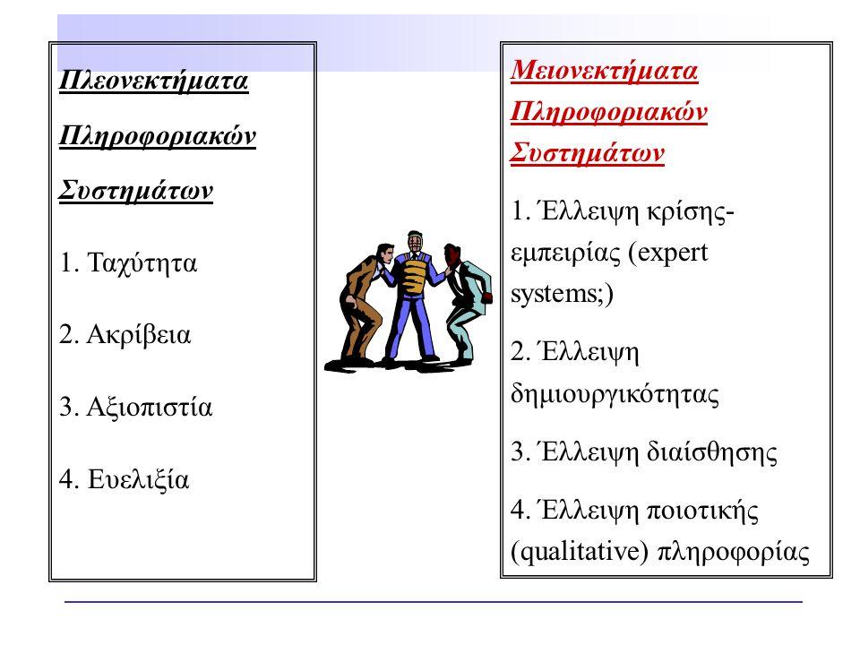 Πλεονεκτήματα Πληροφοριακών Συστημάτων 1. Ταχύτητα 2. Ακρίβεια 3. Αξιοπιστία 4. Ευελιξία Μειονεκτήματα Πληροφοριακών Συστημάτων 1. Έλλειψη κρίσης- εμπ