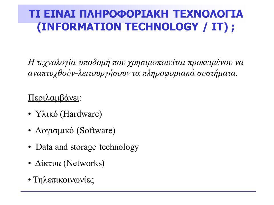 ΤΙ ΕΙΝΑΙ ΠΛΗΡΟΦΟΡΙΑΚΗ ΤΕΧΝΟΛΟΓΙΑ (INFORMATION TECHNOLOGY / IT) ; Η τεχνολογία-υποδομή που χρησιμοποιείται προκειμένου να αναπτυχθούν-λειτουργήσουν τα