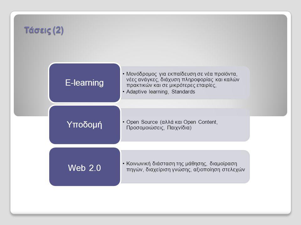 •Μονόδρομος για εκπαίδευση σε νέα προϊόντα, νέες ανάγκες, διάχυση πληροφορίας και καλών πρακτικών και σε μικρότερες εταιρίες, •Αdaptive learning, Standards E-learning •Open Source (αλλά και Open Content, Προσομοιώσεις, Παιχνίδια) Υποδομή •Κοινωνική διάσταση της μάθησης, διαμοίραση πηγών, διαχείριση γνώσης, αξιοποίηση στελεχών Web 2.0 Τάσεις (2)