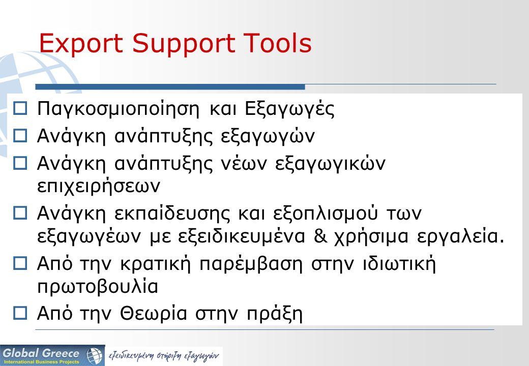 Export Support Tools  Παγκοσμιοποίηση και Εξαγωγές  Ανάγκη ανάπτυξης εξαγωγών  Ανάγκη ανάπτυξης νέων εξαγωγικών επιχειρήσεων  Ανάγκη εκπαίδευσης και εξοπλισμού των εξαγωγέων με εξειδικευμένα & χρήσιμα εργαλεία.