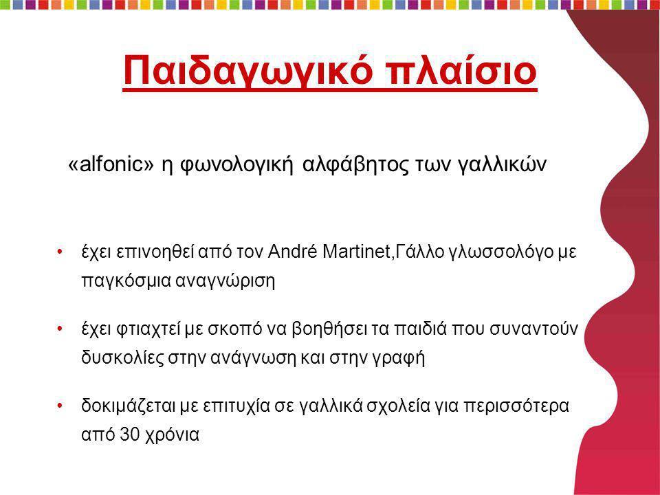 Παιδαγωγικό πλαίσιο •έχει επινοηθεί από τον André Martinet,Γάλλο γλωσσολόγο με παγκόσμια αναγνώριση •έχει φτιαχτεί με σκοπό να βοηθήσει τα παιδιά που συναντούν δυσκολίες στην ανάγνωση και στην γραφή •δοκιμάζεται με επιτυχία σε γαλλικά σχολεία για περισσότερα από 30 χρόνια «alfonic» η φωνολογική αλφάβητος των γαλλικών