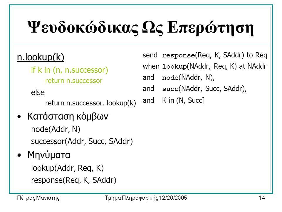 Πέτρος ΜανιάτηςΤμήμα Πληροφορικής 12/20/200514 Ψευδοκώδικας Ως Επερώτηση n.lookup(k) if k in (n, n.successor) return n.successor else return n.success