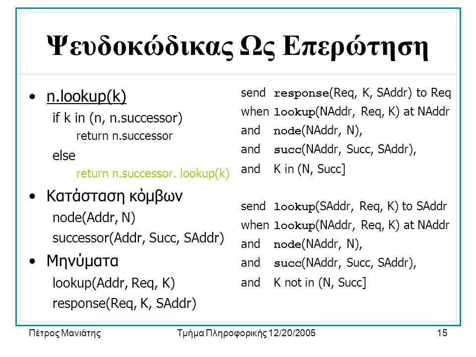 Πέτρος ΜανιάτηςΤμήμα Πληροφορικής 12/20/200515 Ψευδοκώδικας Ως Επερώτηση •n.lookup(k) if k in (n, n.successor) return n.successor else return n.succes