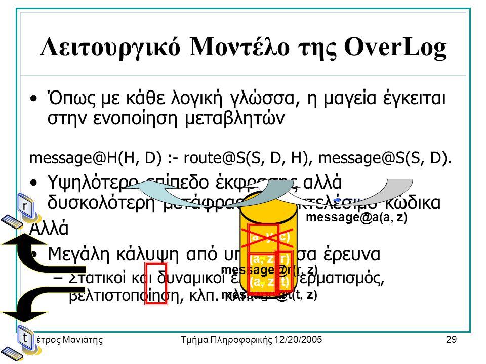 Πέτρος ΜανιάτηςΤμήμα Πληροφορικής 12/20/200529 Λειτουργικό Μοντέλο της OverLog •Όπως με κάθε λογική γλώσσα, η μαγεία έγκειται στην ενοποίηση μεταβλητών message@H(H, D) :- route@S(S, D, H), message@S(S, D).