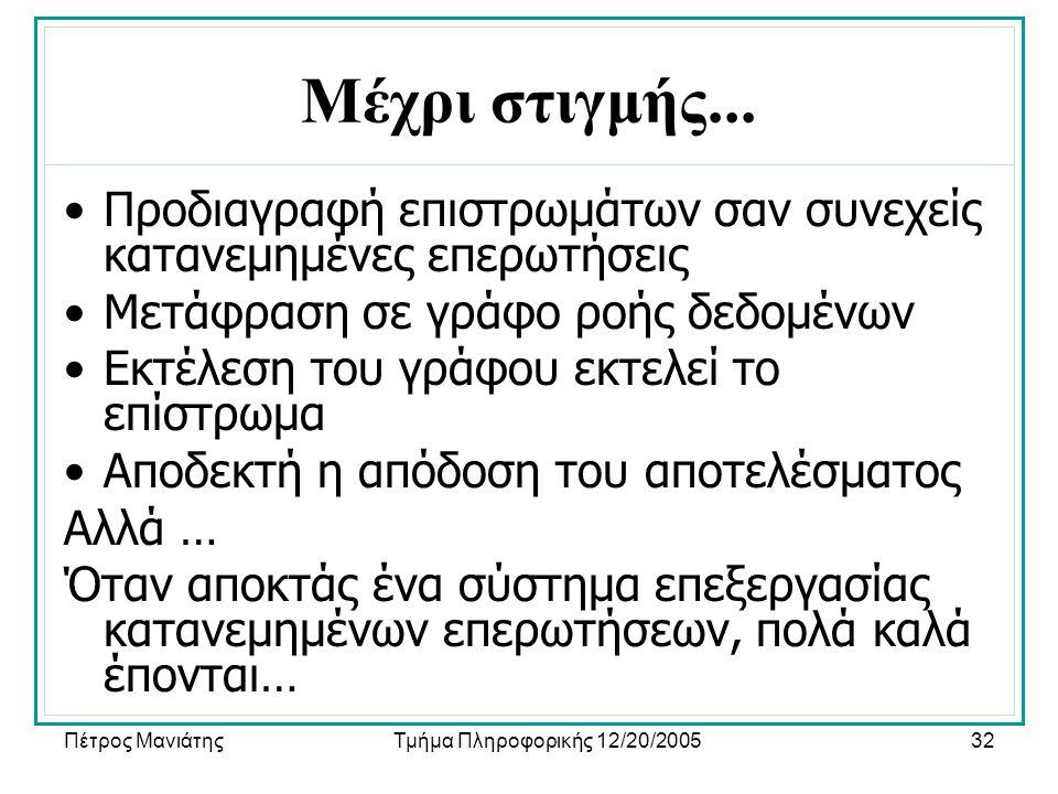 Πέτρος ΜανιάτηςΤμήμα Πληροφορικής 12/20/200532 Μέχρι στιγμής...