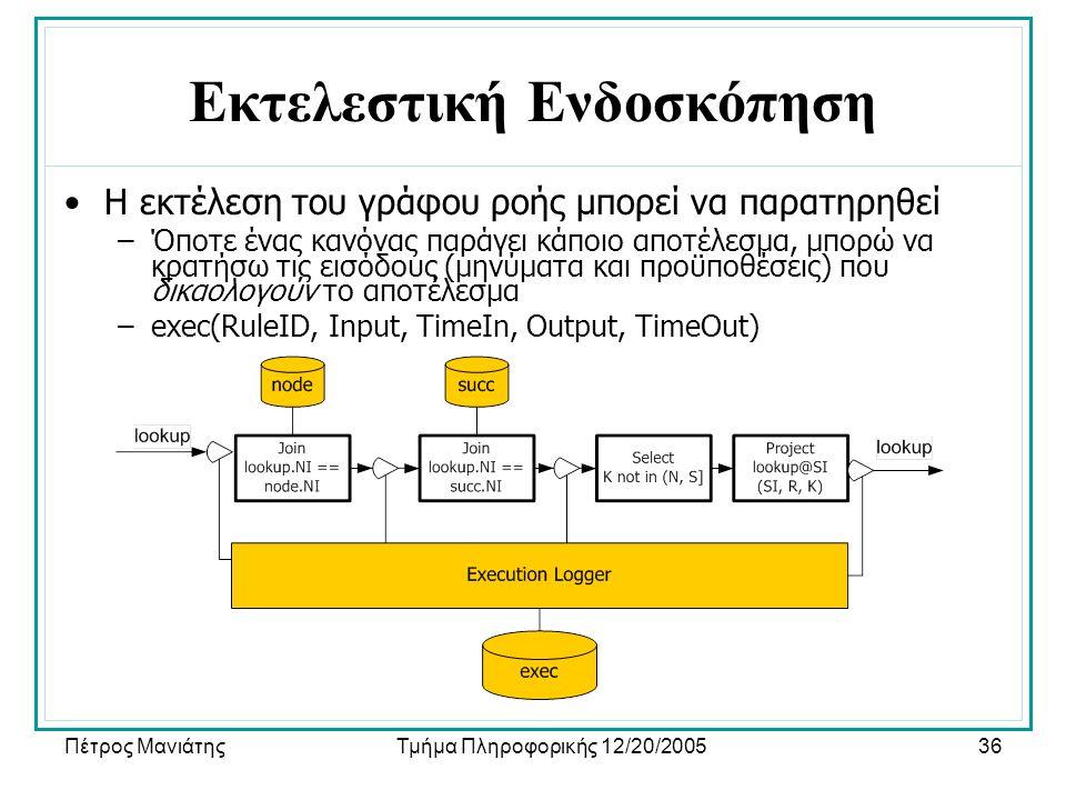 Πέτρος ΜανιάτηςΤμήμα Πληροφορικής 12/20/200536 Εκτελεστική Ενδοσκόπηση •Η εκτέλεση του γράφου ροής μπορεί να παρατηρηθεί –Όποτε ένας κανόνας παράγει κάποιο αποτέλεσμα, μπορώ να κρατήσω τις εισόδους (μηνύματα και προϋποθέσεις) που δικαολογούν το αποτέλεσμα –exec(RuleID, Input, TimeIn, Output, TimeOut)