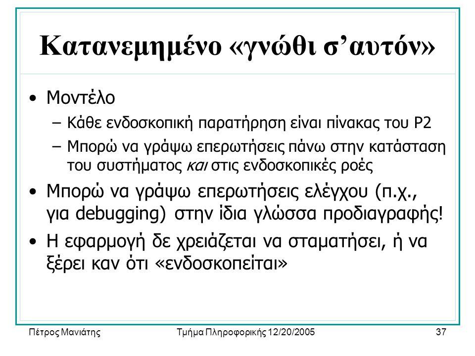 Πέτρος ΜανιάτηςΤμήμα Πληροφορικής 12/20/200537 Κατανεμημένο «γνώθι σ'αυτόν» •Μοντέλο –Κάθε ενδοσκοπική παρατήρηση είναι πίνακας του P2 –Μπορώ να γράψω