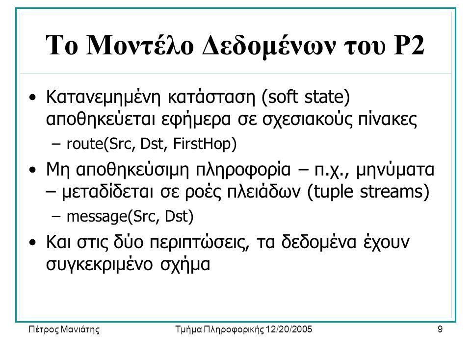 Πέτρος ΜανιάτηςΤμήμα Πληροφορικής 12/20/20059 Το Μοντέλο Δεδομένων του P2 •Κατανεμημένη κατάσταση (soft state) αποθηκεύεται εφήμερα σε σχεσιακούς πίνακες –route(Src, Dst, FirstHop) •Μη αποθηκεύσιμη πληροφορία – π.χ., μηνύματα – μεταδίδεται σε ροές πλειάδων (tuple streams) –message(Src, Dst) •Και στις δύο περιπτώσεις, τα δεδομένα έχουν συγκεκριμένο σχήμα