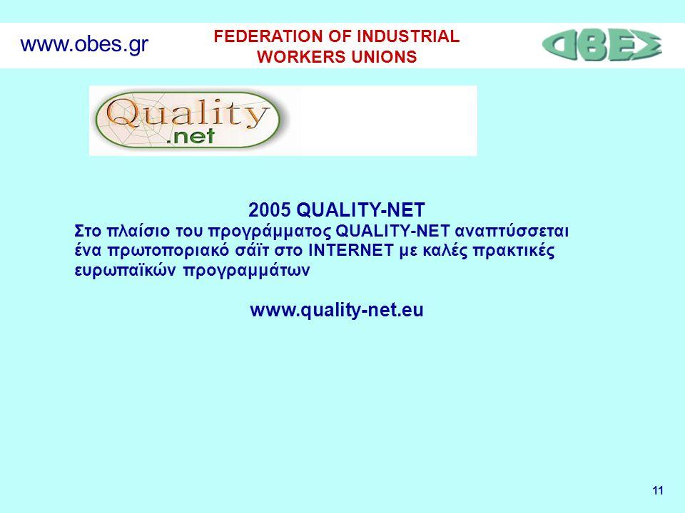 11 FEDERATION OF INDUSTRIAL WORKERS UNIONS www.obes.gr 2005 QUALITY-NET Στο πλαίσιο του προγράμματος QUALITY-NET αναπτύσσεται ένα πρωτοποριακό σάϊτ στο INTERNET με καλές πρακτικές ευρωπαϊκών προγραμμάτων www.quality-net.eu