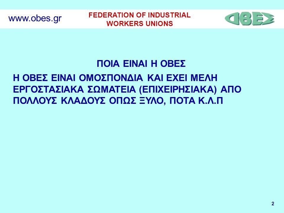 2 FEDERATION OF INDUSTRIAL WORKERS UNIONS www.obes.gr ΠΟΙΑ ΕΙΝΑΙ Η ΟΒΕΣ Η ΟΒΕΣ EINAI ΟΜΟΣΠΟΝΔΙΑ ΚΑΙ ΕΧΕΙ ΜΕΛΗ ΕΡΓΟΣΤΑΣΙΑΚΑ ΣΩΜΑΤΕΙΑ (ΕΠΙΧΕΙΡΗΣΙΑΚΑ) ΑΠΟ ΠΟΛΛΟΥΣ ΚΛΑΔΟΥΣ ΟΠΩΣ ΞΥΛΟ, ΠΟΤΑ Κ.Λ.Π