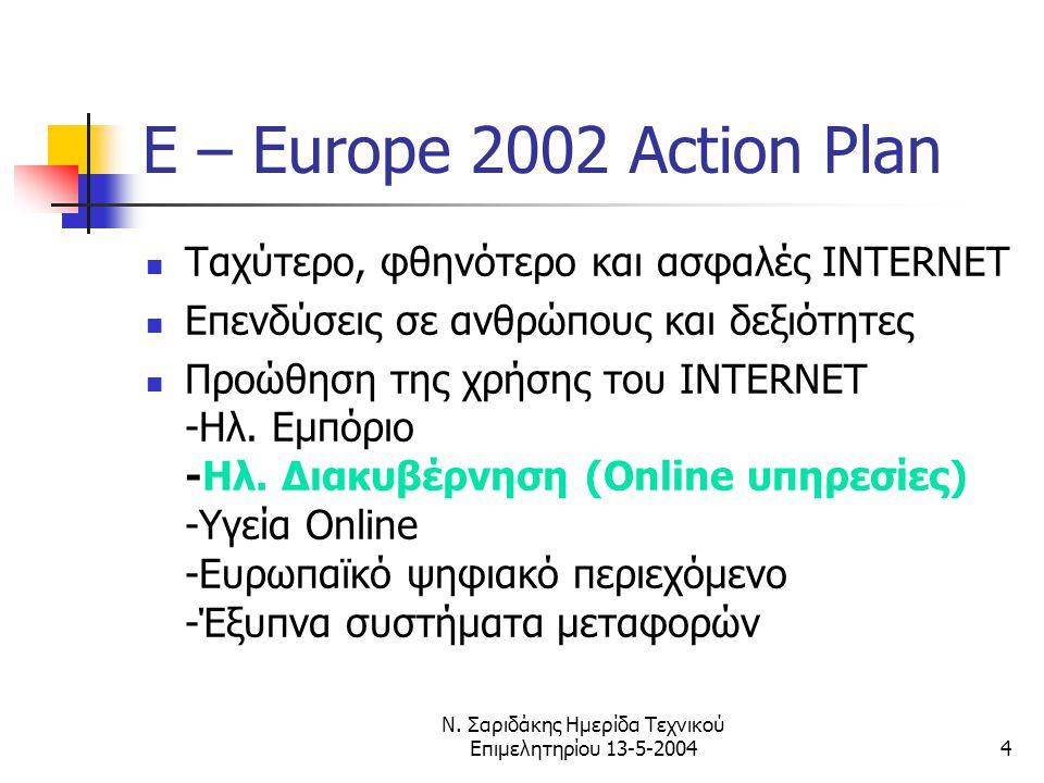 Ν. Σαριδάκης Ημερίδα Τεχνικού Επιμελητηρίου 13-5-20044 E – Europe 2002 Action Plan  Ταχύτερο, φθηνότερο και ασφαλές INTERNET  Επενδύσεις σε ανθρώπου
