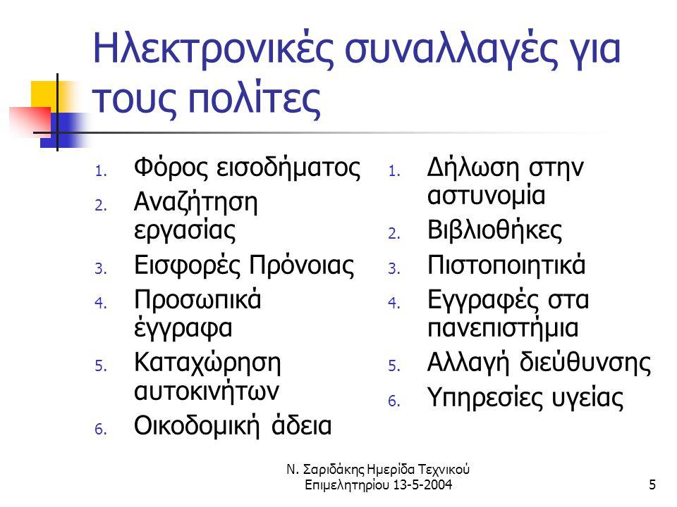 Ν. Σαριδάκης Ημερίδα Τεχνικού Επιμελητηρίου 13-5-20045 Ηλεκτρονικές συναλλαγές για τους πολίτες 1.