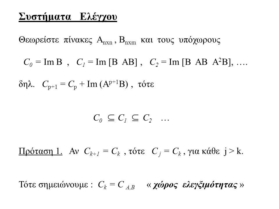 Συστήματα Ελέγχου Θεωρείστε πίνακες Α nxn, Β nxm και τους υπόχωρους C 0 = Im B, C 1 = Im [B AB], C 2 = Im [B AB A 2 B], …. δηλ. C p+1 = C p + Im (A p+