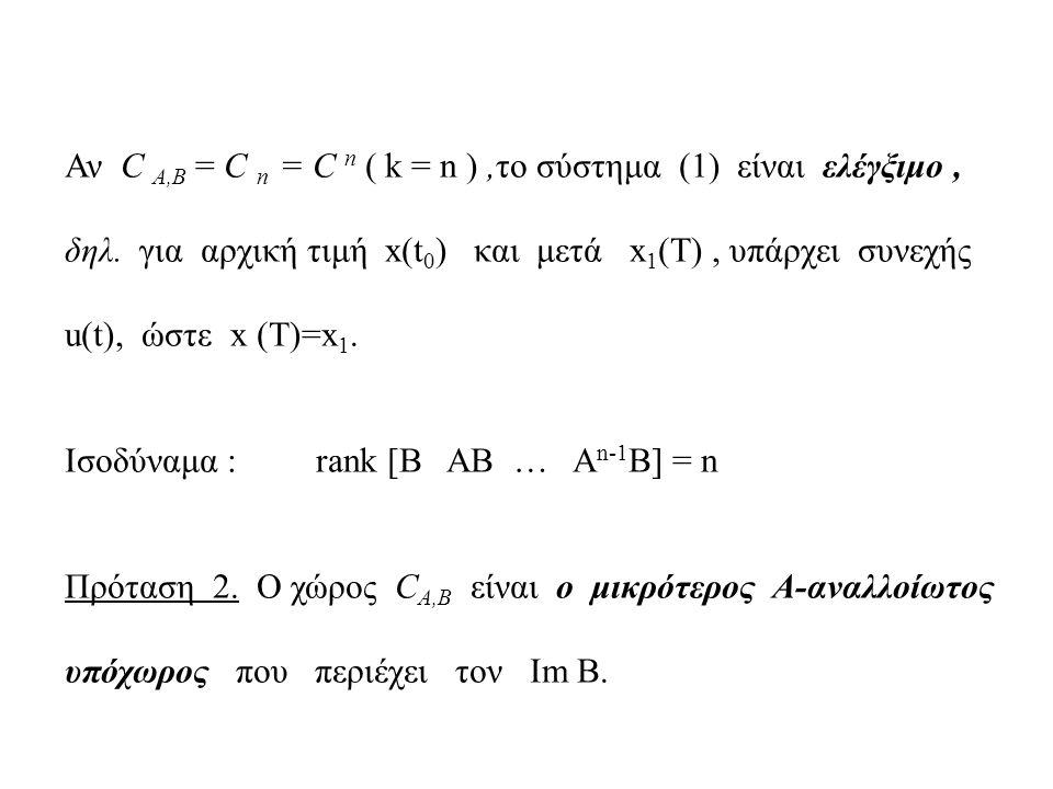 Αν C A,B = C n = C n ( k = n ),το σύστημα (1) είναι ελέγξιμο, δηλ. για αρχική τιμή x(t 0 ) και μετά x 1 (Τ), υπάρχει συνεχής u(t), ώστε x (T)=x 1. Ισο
