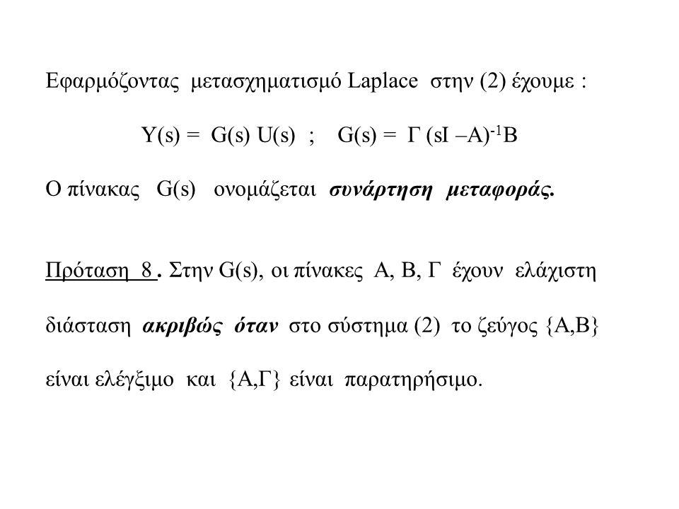 Εφαρμόζοντας μετασχηματισμό Laplace στην (2) έχουμε : Υ(s) = G(s) U(s) ; G(s) = Γ (sI –A) -1 B Ο πίνακας G(s) ονομάζεται συνάρτηση μεταφοράς.