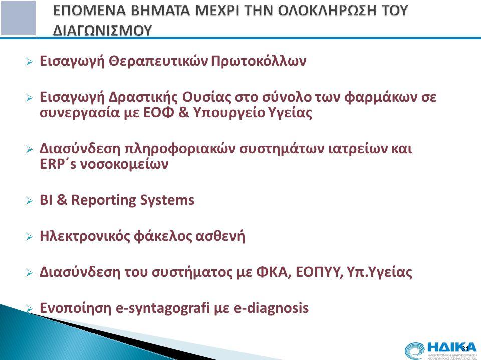  Εισαγωγή Θεραπευτικών Πρωτοκόλλων  Εισαγωγή Δραστικής Ουσίας στο σύνολο των φαρμάκων σε συνεργασία με ΕΟΦ & Υπουργείο Υγείας  Διασύνδεση πληροφορι
