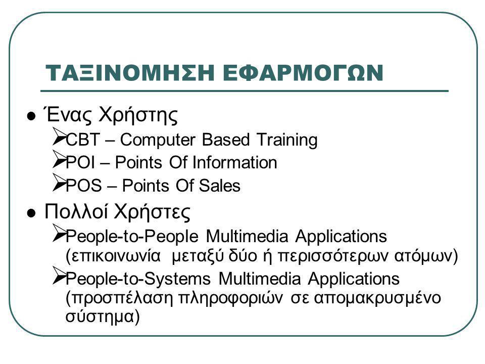 ΤΑΞΙΝΟΜΗΣΗ ΕΦΑΡΜΟΓΩΝ  Ένας Χρήστης  CBT – Computer Based Training  POI – Points Of Information  POS – Points Of Sales  Πολλοί Χρήστες  People-to-People Multimedia Applications (επικοινωνία μεταξύ δύο ή περισσότερων ατόμων)  People-to-Systems Multimedia Applications (προσπέλαση πληροφοριών σε απομακρυσμένο σύστημα)