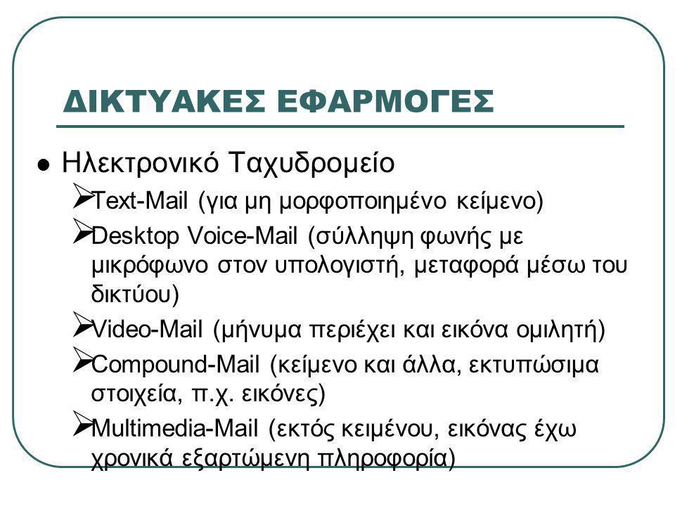 ΔΙΚΤΥΑΚΕΣ ΕΦΑΡΜΟΓΕΣ  Ηλεκτρονικό Ταχυδρομείο  Text-Mail (για μη μορφοποιημένο κείμενο)  Desktop Voice-Mail (σύλληψη φωνής με μικρόφωνο στον υπολογιστή, μεταφορά μέσω του δικτύου)  Video-Mail (μήνυμα περιέχει και εικόνα ομιλητή)  Compound-Mail (κείμενο και άλλα, εκτυπώσιμα στοιχεία, π.χ.