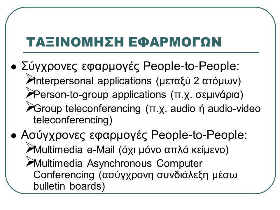 ΤΑΞΙΝΟΜΗΣΗ ΕΦΑΡΜΟΓΩΝ  Σύγχρονες εφαρμογές People-to-People:  Interpersonal applications (μεταξύ 2 ατόμων)  Person-to-group applications (π.χ. σεμιν