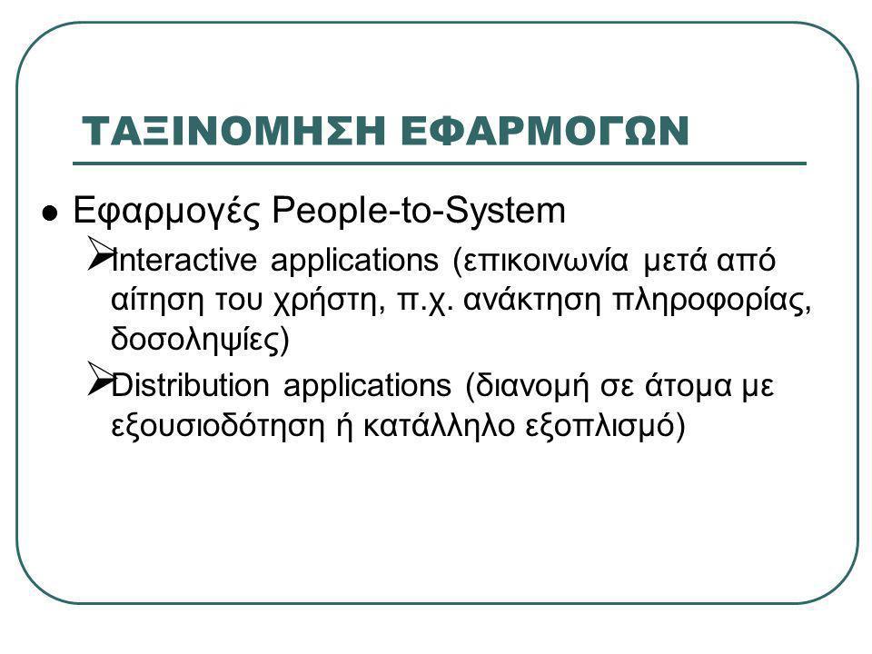 ΤΑΞΙΝΟΜΗΣΗ ΕΦΑΡΜΟΓΩΝ  Εφαρμογές People-to-System  Interactive applications (επικοινωνία μετά από αίτηση του χρήστη, π.χ. ανάκτηση πληροφορίας, δοσολ