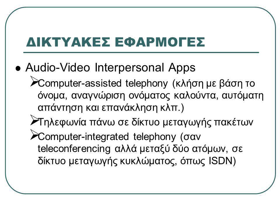 ΔΙΚΤΥΑΚΕΣ ΕΦΑΡΜΟΓΕΣ  Audio-Video Interpersonal Apps  Computer-assisted telephony (κλήση με βάση το όνομα, αναγνώριση ονόματος καλούντα, αυτόματη απάντηση και επανάκληση κλπ.)  Τηλεφωνία πάνω σε δίκτυο μεταγωγής πακέτων  Computer-integrated telephony (σαν teleconferencing αλλά μεταξύ δύο ατόμων, σε δίκτυο μεταγωγής κυκλώματος, όπως ISDN)