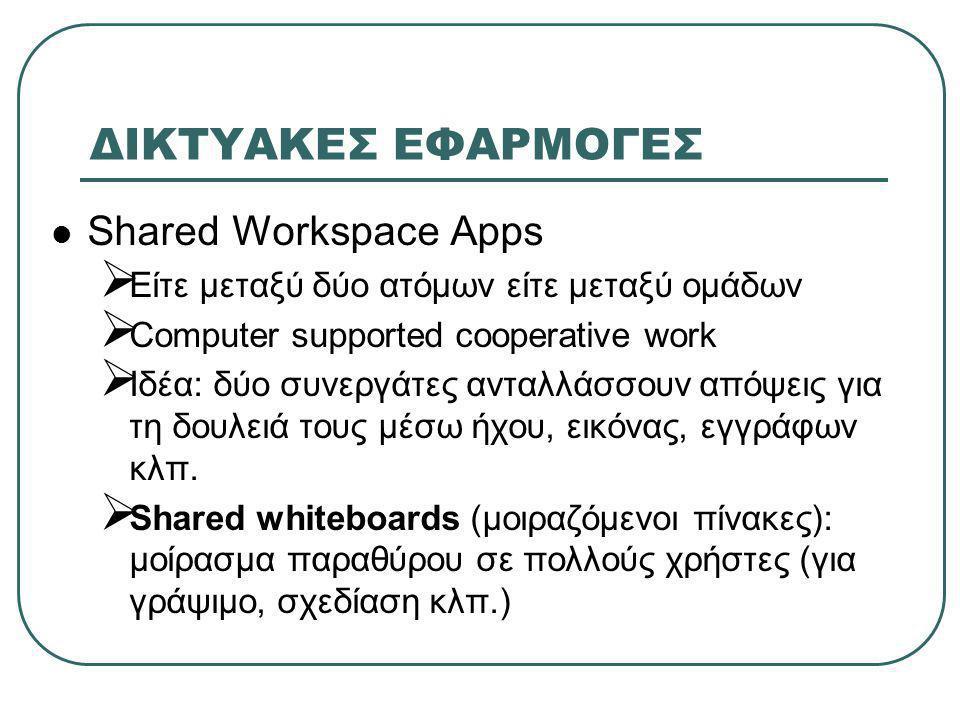 ΔΙΚΤΥΑΚΕΣ ΕΦΑΡΜΟΓΕΣ  Shared Workspace Apps (συνέχεια)  Control of the floor: χωρίς κανόνες ή όταν γράφει κάποιος δε μπορεί κανείς άλλος ή κάθε χρήστης κάνει αίτηση για αποκλειστική χρήση  Shared Applications Tools  Λογισμικό για μοίρασμα εφαρμογών  Θέματα: floor control, σύνδεση και αποσύνδεση χρηστών στα sessions, συμβατότητα υπολογιστών