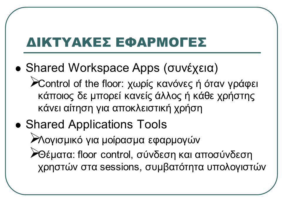 ΔΙΚΤΥΑΚΕΣ ΕΦΑΡΜΟΓΕΣ  Shared Workspace Apps (συνέχεια)  Control of the floor: χωρίς κανόνες ή όταν γράφει κάποιος δε μπορεί κανείς άλλος ή κάθε χρήστ